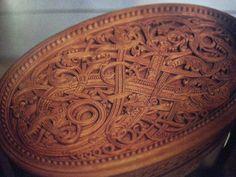 Dragestil carved oval box of unknown origin.