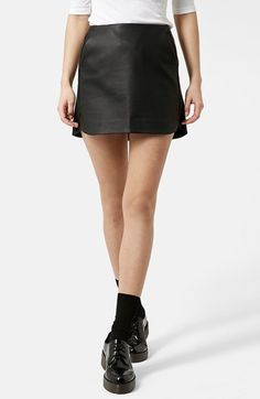 Topshop Curved Hem Faux Leather Miniskirt available at #Nordstrom