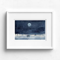 Just You and I – Claire Gunn - Watercolour Couple holding hands on a beach at full moon under a starry sky. Couple Holding Hands, Just You And Me, Watercolour Painting, Full Moon, Claire, Original Artwork, Fine Art Prints, Sky, Beach