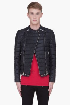 BALMAIN Black Padded Biker Jacket