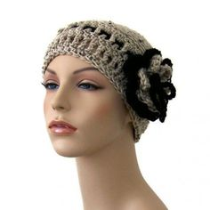 Beanie Hat in Oatmeal and Black with Flower and Bow | CityStyle - Accessories on ArtFire