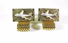 Gold Tone Wrap Around Cufflinks with Boeing 747 Airplane