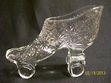 Vintage Fenton Clear Glass Daisy & Button Roller Skate MINT