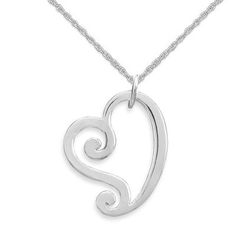 Curly Polished Open Heart Pendant Sterling Silver, Chain Included    SKU: M72566-P    Curly high polish heart pendant is so adorable and measures 18mm x 19mm. Includes our sterling silver rope chain in your choice of lengths. .925 sterling silver.