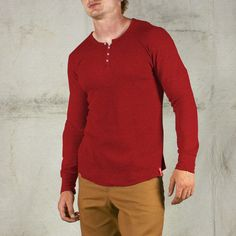 Thermal Henley Shirt - Red