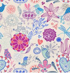 Floral seamless background with birds vector
