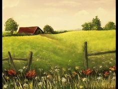 How to Paint an EASY Farmhouse Landscape with Acrylic Paint, Lesson 1 Step by Step Simple Oil Painting, Acrylic Painting Lessons, Acrylic Painting Tutorials, Painting Videos, Painting Abstract, Acrylic Paintings, Farmhouse Paintings, Farm Paintings, Country Paintings