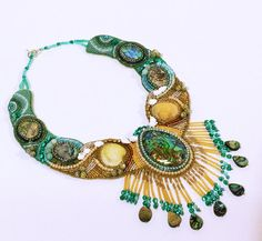 Mermaids Jewels, Statement Bead Embroidery Collar Necklace