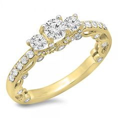 1.15 Carat (ctw) 14k Yellow Gold Round Diamond Ladies Bridal Vintage 3 Stone Engagement Ring (Size 9) *** Find out more about the great product at the image link.