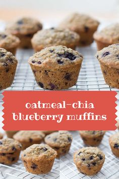 Blueberry Muffins with the goodness of oatmeal and chia seeds   super easy and a great lunchbox treat or grab and go breakfast   www.kiwiandbean.com