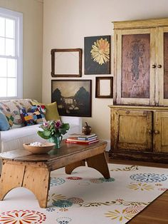 . coffee tables, living rooms, stencil rug, area rugs, paint colors, hous, floor coverings, project ideas, stencil floor