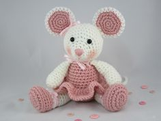Ballerina Mouse Crochet Stuffed Mouse, Amigurumi Mouse, Ballerina Doll, Toy Mouse by CROriginals on Etsy https://www.etsy.com/listing/107754711/ballerina-mouse-crochet-stuffed-mouse