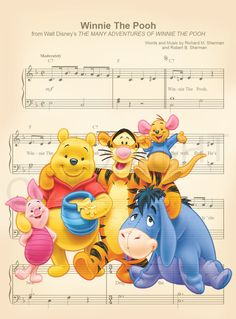 Here is a music sheet art print of Winnie the Pooh, Piglet, Tigger, Eeyore and Roo from Disneys Winnie the Pooh. This is perfect for any Winnie the Pooh/Disney fanatic! We print this on quality photo paper, which measures approximately 8.5x11, and ship it in a heavy-duty envelope to ensure it arrives intact. 11x15 Poster: $20.00 Take advantage of our Buy 2 Prints, Get 1 Free special! Simply purchase any two prints in our shop, and let us know in a note which print youd like as your th...