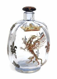A FRENCH ENAMELED SCENT BOTTLE AND STOPPER, SIGNED IN ETCH 'EMILE GALLE, A NANCY, DESPOSE', CIRCA 1900