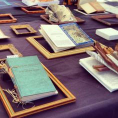 an array of altered books
