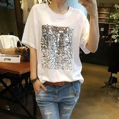 ... female tee shirts 6 . Alice McKenzie · Alice McKenzieT-Shirt · Summer  2018 New Korean White Shirt Loose Large size Cotton Sequins Bamboo Cotton  White T- 341729382584