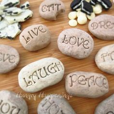 Cookies 'n Cream fudge is shaped into colorful rocks and imprinted using garden stone stamps.