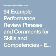 240 Performance Evaluation Phrases Sample Performance