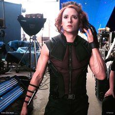 Jeremy Renner wearing Scarlett Johansson's stunt double's mask....