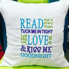 Read me a story machine embroidery designs 3 sizes hoop Brother Embroidery Machine, Machine Embroidery Projects, Embroidery Machines, Book Pillow, Reading Pillow, Pillow Embroidery, Embroidery Hoops, Embroidery Ideas, Sewing Machines Best