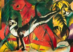 Franz Marc.  I love the cheeky siamese with the red kitty in the middle.