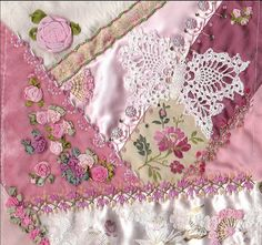 I ❤ crazy quilting & ribbon embroidery . . .  Mary's completed block- This is such a delicate and beautiful block. Mary's creations are always beyond beautiful! ~By BarbaraB