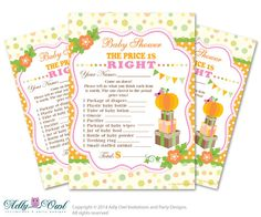 Girl Pumpkin Price is Right Game Printable by adlyowlinvitations, $5.00