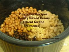 I grew up on canned baked beans at picnics and BBQs but with this recipe there is no reason to serve canned baked beans again. This recipe is so easy. You simply dump everything into the crock . Canned Baked Beans, Baked Beans Crock Pot, Crock Pot Freezer, Crock Pot Cooking, Bean Recipes, Side Dish Recipes, Fall Recipes, Side Dishes, Slow Cooker Recipes
