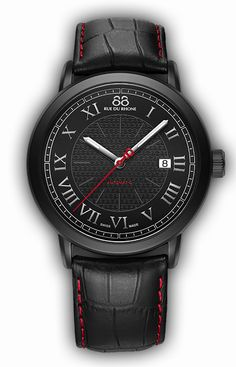 Flawlessly contemporary, this 88 RUE DU RHONE automatic watch has a matte black PVD case and a black leather strap with bright contrasting red stitching. A rich black dial, 8-filigree motif, silver Roman numerals and date window at 3 o'clock complete this updated, urban beauty.  Reference: 87WA120041