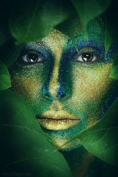 Shades of green Go Green, Green And Gold, Blue Gold, Blue Yellow, Wow Art, Photo Makeup, World Of Color, Life Color, Fantasy Makeup