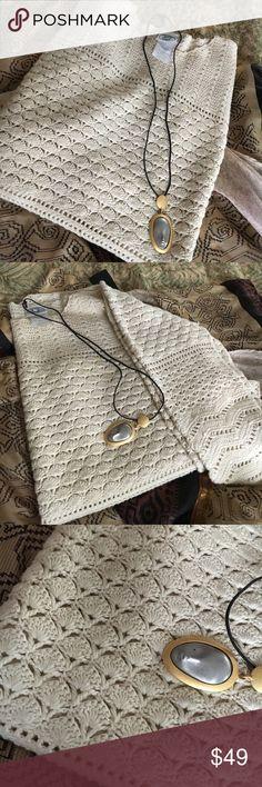 Laura Ashley pullover sweater Laura Ashley crochet pullover sweater 55%ramie  45% cotton Laura Ashley Sweaters Crew & Scoop Necks
