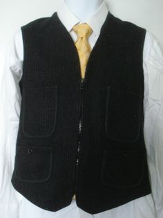 Vintage Woolrich Dark Gray Zipper Wool Utility Vest Mens 38 Hunting Deer  #Woolrich