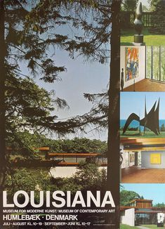 Louisiana Museum of Modern Art Advertisment - Original Vintage Poster Louisiana Museum, Museum Of Contemporary Art, Exhibition Poster, Most Visited, Vintage Posters, Denmark, Landscape, The Originals, Exhibitions