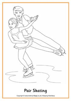 Pair skating coloring page: Winter Olympic Crafts for Kids. Coloring Pages Winter, Coloring For Kids, Colouring Pages, Coloring Books, Olympic Idea, Olympic Games, Theme Sport, Olympic Crafts, Kids Olympics