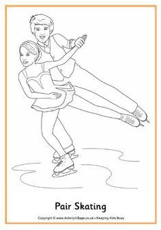 Pair skating colouring page