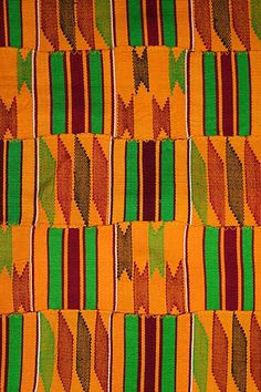 Africa | Woven Kente clothThe icon of African cultural heritage around the world, Akan kente is identified by its dazzling, multicolored patterns of bright colors, geometric shapes, and bold designs. Kente characterized by weft designs woven into every available block of plain weave is called adweneasa. The Akan people choose kente cloths as much for their names as their colors and patterns.