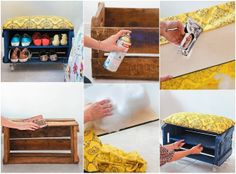 DIY Shoe Storage Benches Using a Fruit Crate