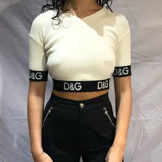 477bcc2b2c138 Vintage D G Dolce   Gabbana white thin knitted crop top tee - Depop Too  Thin