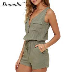b61db1bf82fb  28.3 - Nice Donnalla Women Jumpsuits Summer Playsuits V-Neck Sleeveless  Slim Sexy Jumpsuit Shorts
