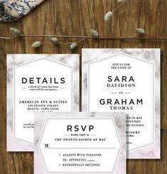 Blush Marble / Printable Wedding Set / Wedding Invitation Suite / RSVP Detail Cards / Custom Wedding Set / Marble Wedding / Invite Download