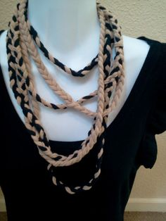 Recycle T Shirt Braided Rope Necklace by LonestarFashions on Etsy, $15.00