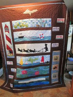 Nanna's 2015 Row-by-Row Quilt Sampler Quilts, Scrappy Quilts, Panel Quilts, Quilt Blocks, Patchwork Quilt Patterns, Quilting Patterns, Quilting Ideas, Row By Row Experience, Beach Quilt