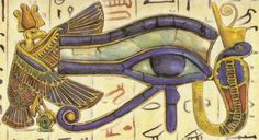 This well-known Egyptian symbol is actually an early math problem. It express fractions of volume. The inner corner of the eye indicates one half, the iris is one fourth, the eyebrow is one eighth, the outer corner of the eye is one sixteenth, and so on.  It can be used to tally amounts quickly.