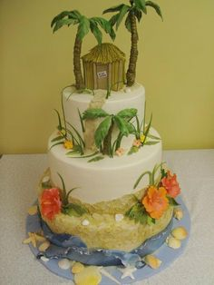 Discover the best ideas for Cake & Desserts! Read articles and watch videos about Cake & Desserts. Beautiful Cake Designs, Beautiful Cakes, Amazing Cakes, Fondant Cakes, Cupcake Cakes, Cupcakes, Survivor Theme, Luau Cakes, Summer Wedding Cakes