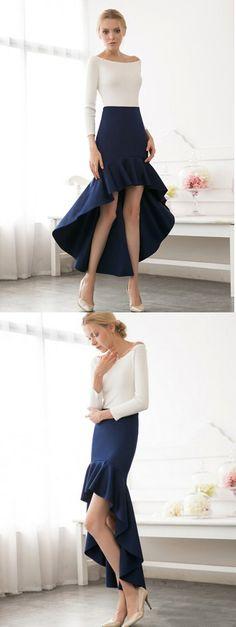 Navy High Waist High Low Flbala Skirt