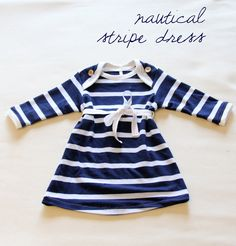 nautical stripe baby onesie top dress -- #stripes #nautical #navy #pinparty