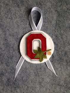 Felt Ohio State University Buckeye Christmas Tree Ornament. Scarlet and Gray.