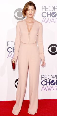 Ellen Pompeo in Elie Saab with Christian Louboutin shoes, Graziela Gems earrings, and a Dana Rebecca Designs ring.