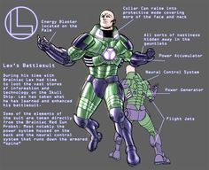 Lex Luthor's battle suit designs, by Pete Woods