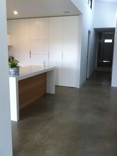 polished concrete floor kitchen. Kitchen With Polished Concrete Floor, White Stone Benchtop And Tasmanian Oak Floor O